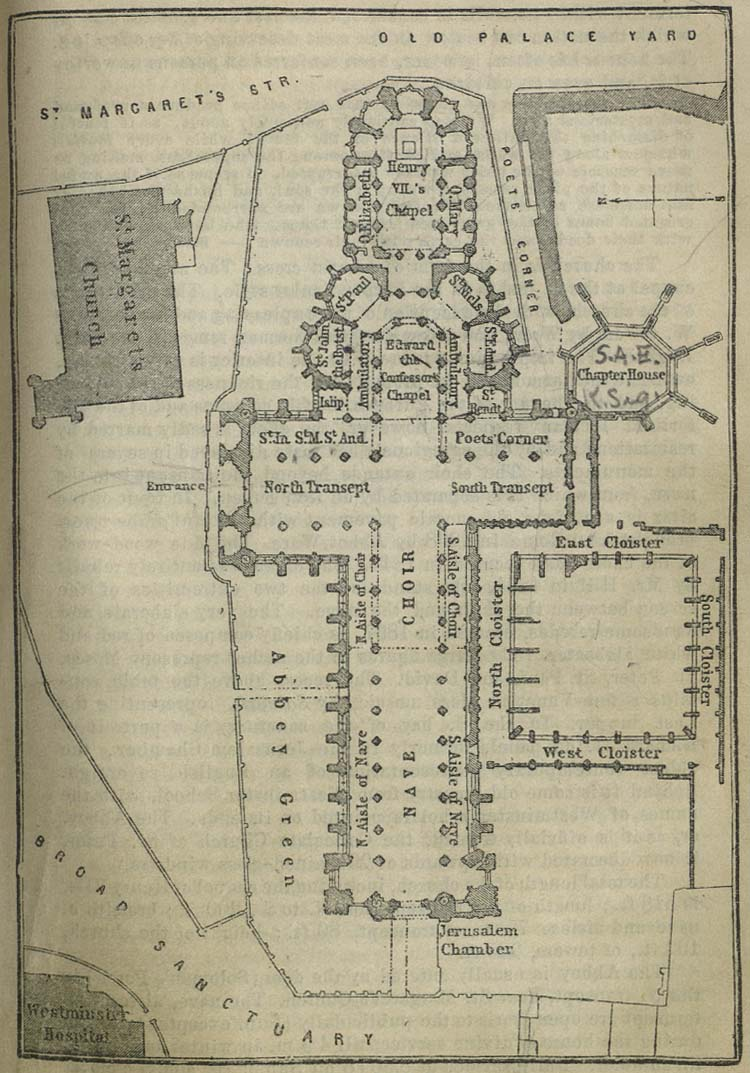 Westminster Abbey Map, London 1894