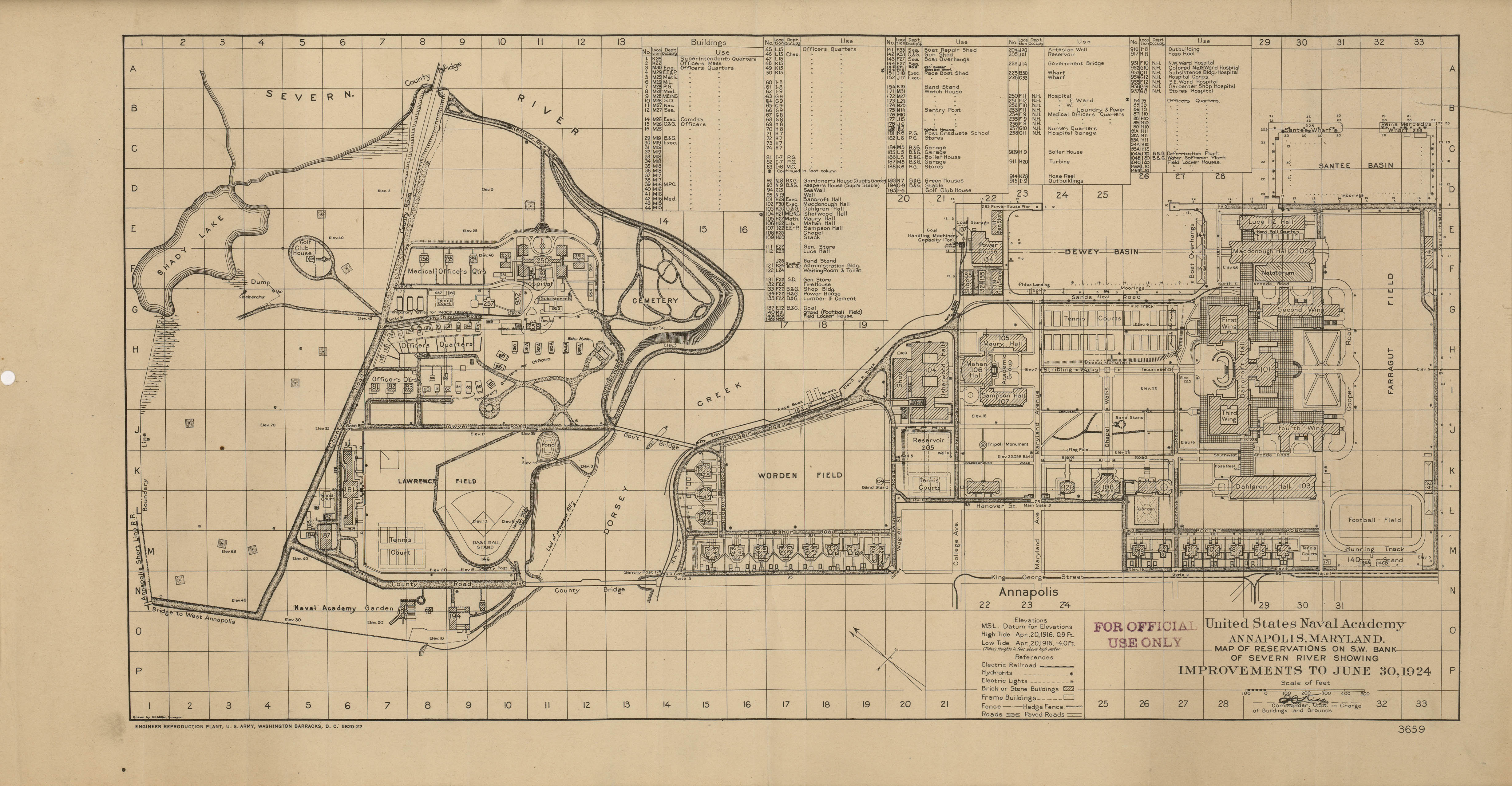 Map of the United States Naval Academy, Annapolis, Maryland 1924