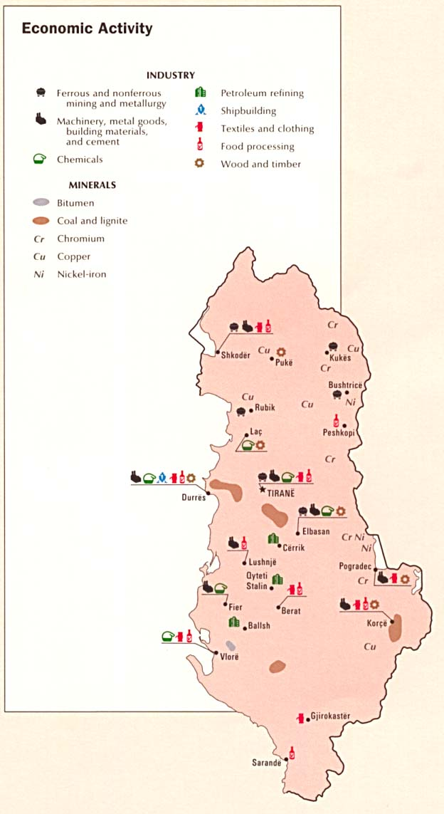 Mapa de la Actividad Económica de Albania