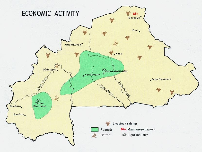 Mapa de la Actividad Económica de Burkina Faso