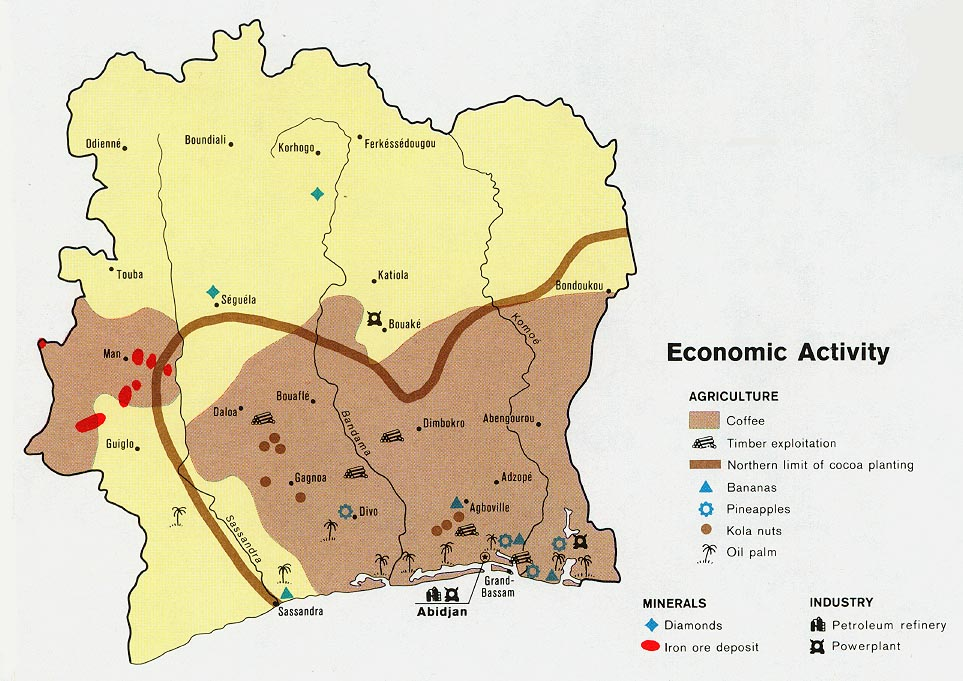 C么te d'Ivoire Economic Activity Map