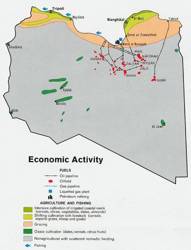 Mapa de la Actividad Económica de Libia
