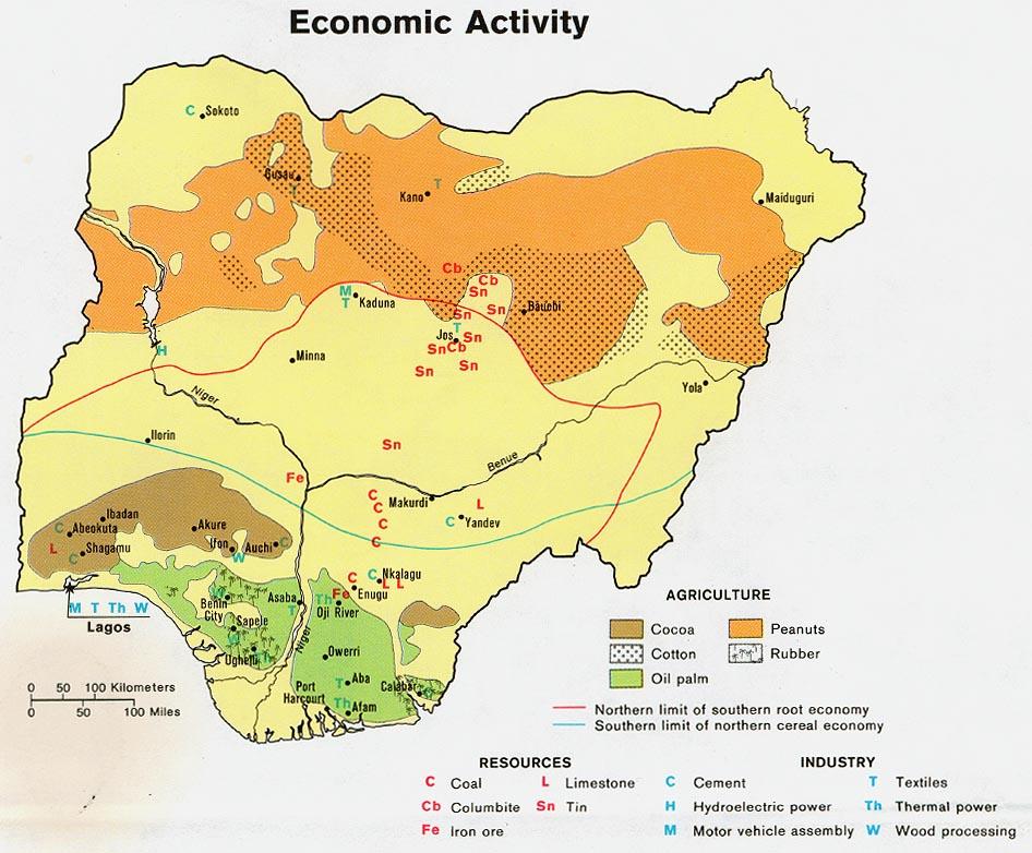 Mapa de la Actividad Económica de Nigeria