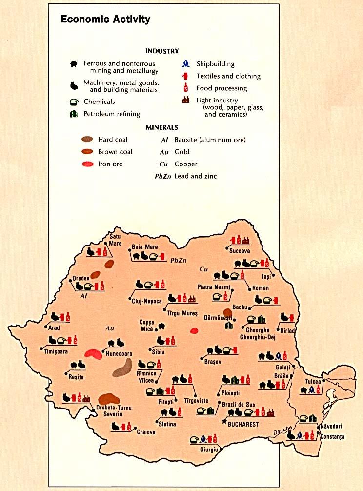 Mapa de la Actividad Económica de Rumania