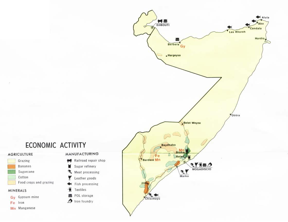 Mapa de la Actividad Económica de Somalia y Yibuti