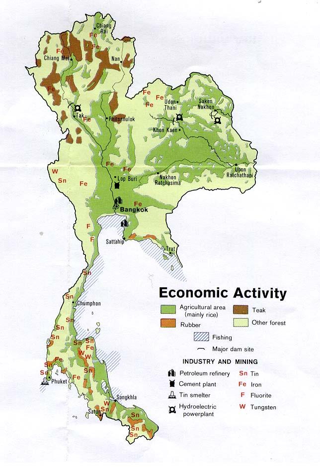 Mapa de la Actividad Económica de Tailandia