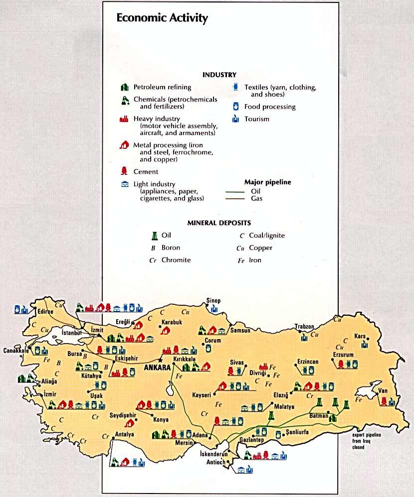 Mapa de la Actividad Económica de Turquía