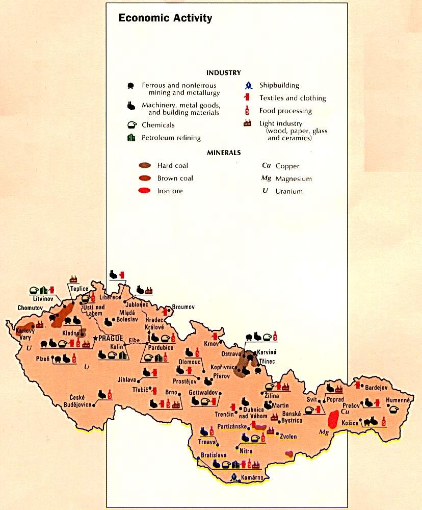 Mapa de la Actividad Económica de la Ex Czechoslovakia