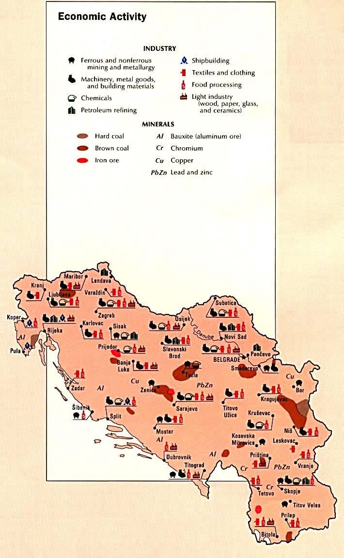Mapa de la Actividad Económica de la Ex Yugoslavia
