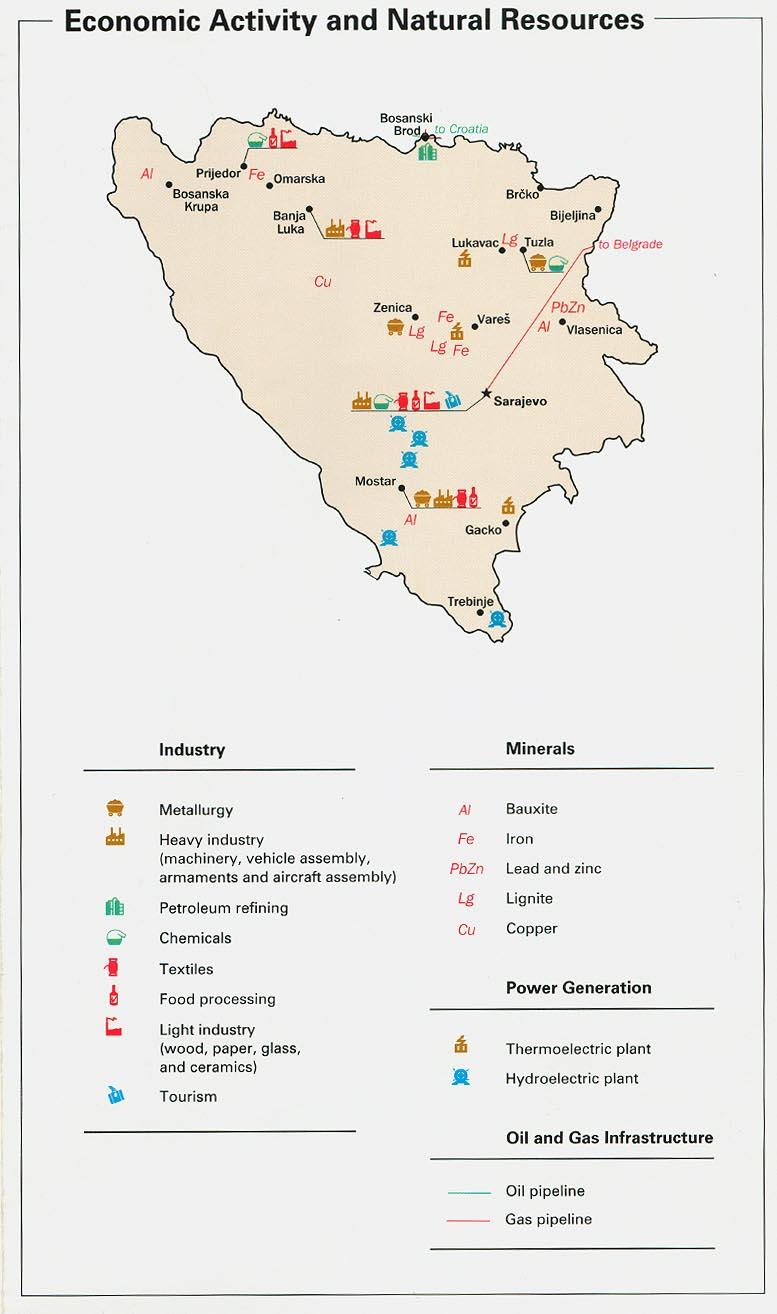 Mapa de la Actividad Económica de y de los Recursos Naturales de Bosnia y Herzegovina