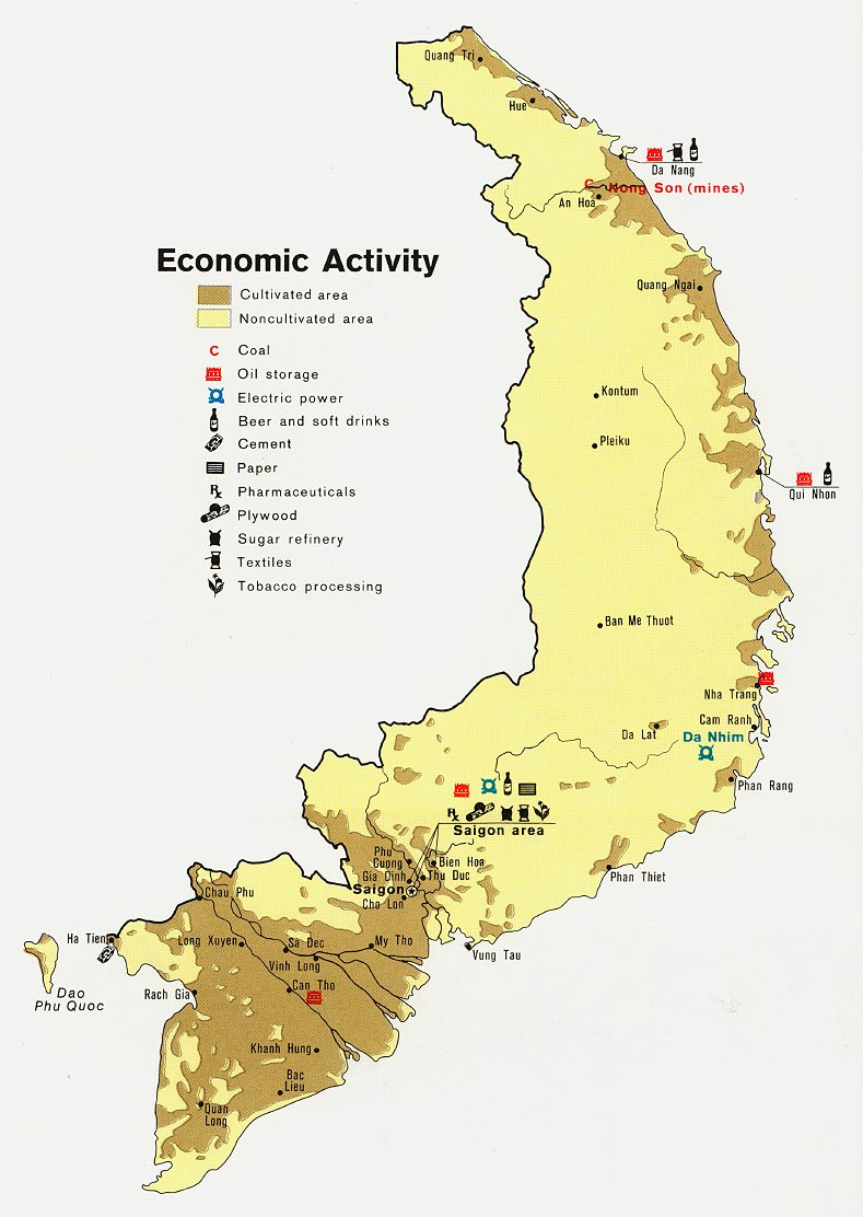 Former South Vietnam Economic Activity Map