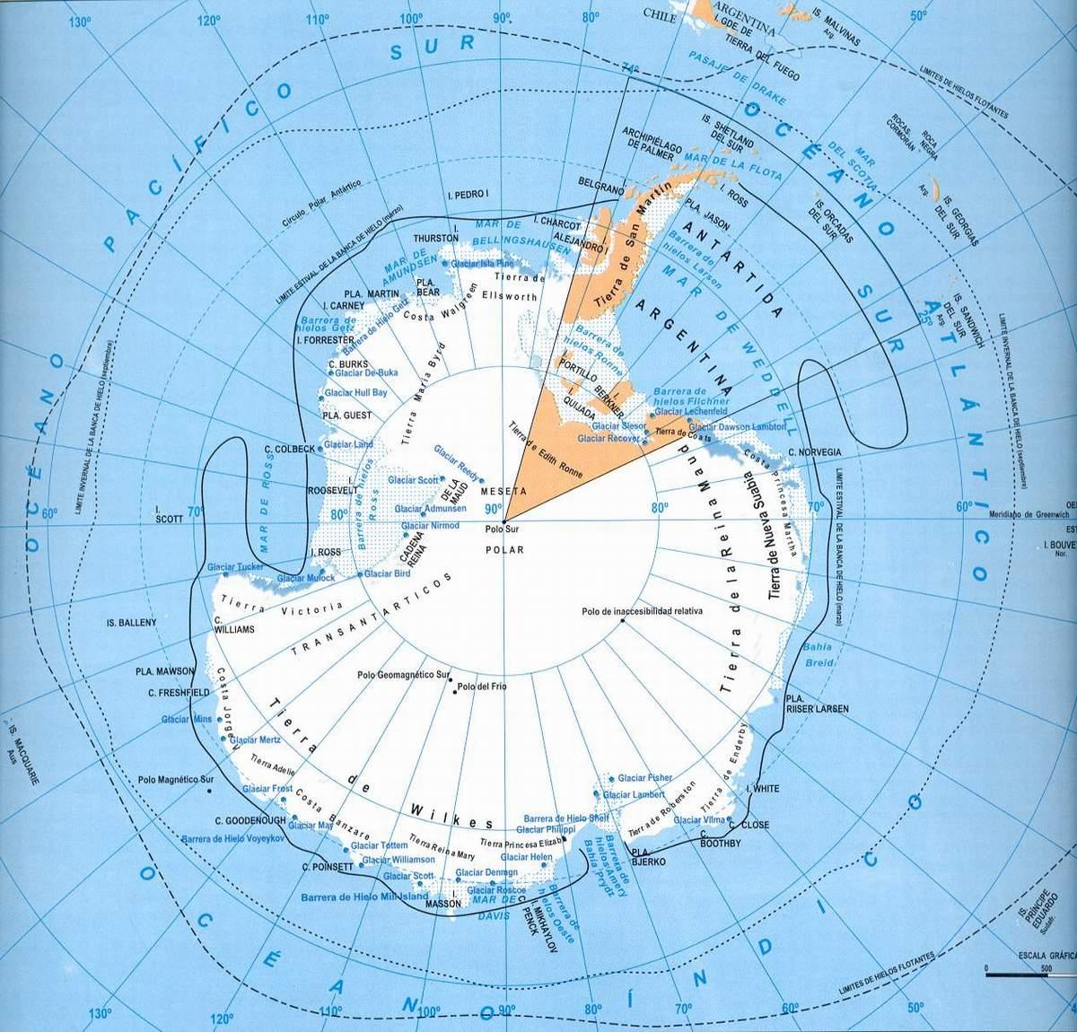 Mapa de la Antartida  Argentina