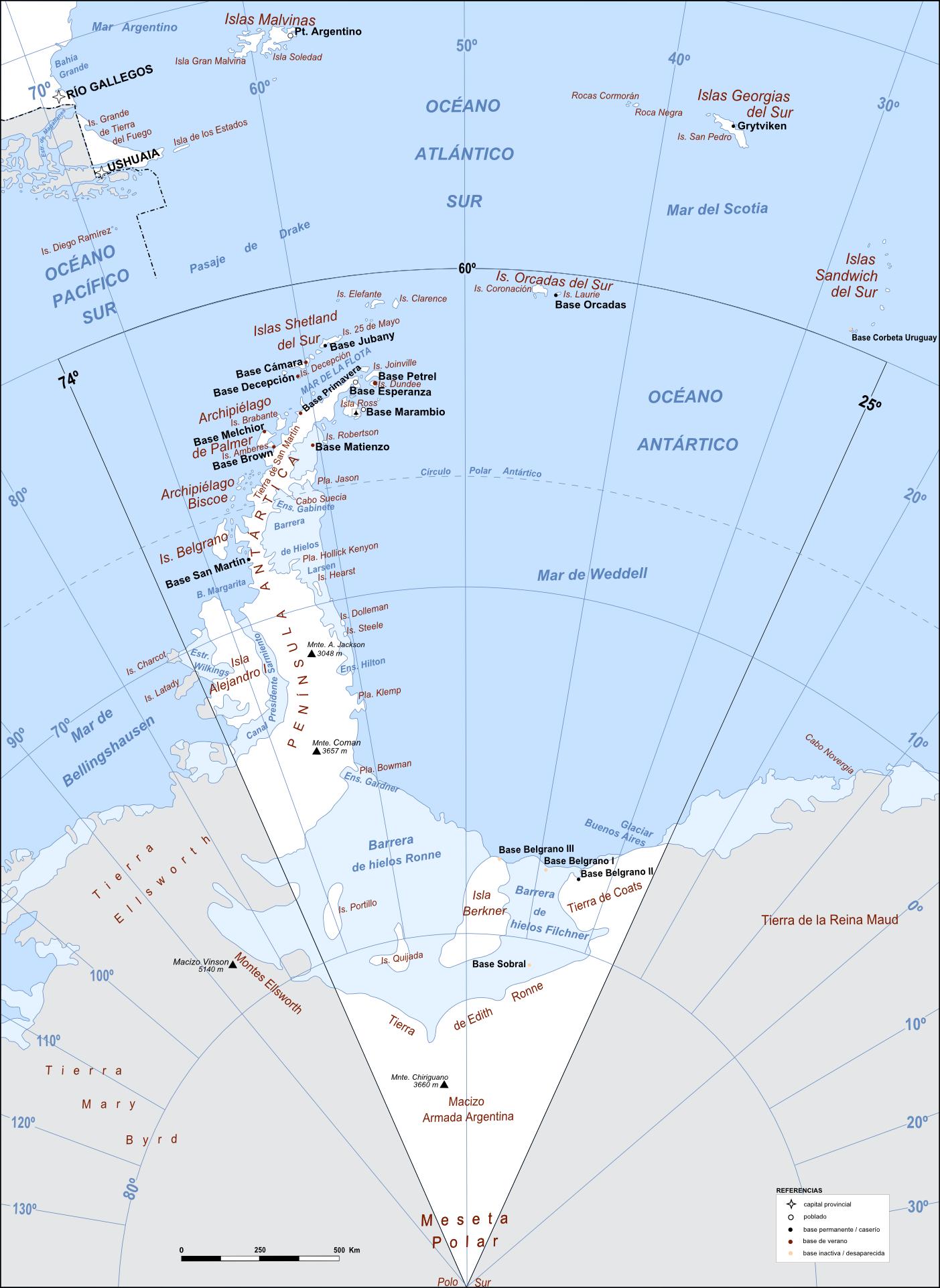 Mapa de la Antártida Argentina