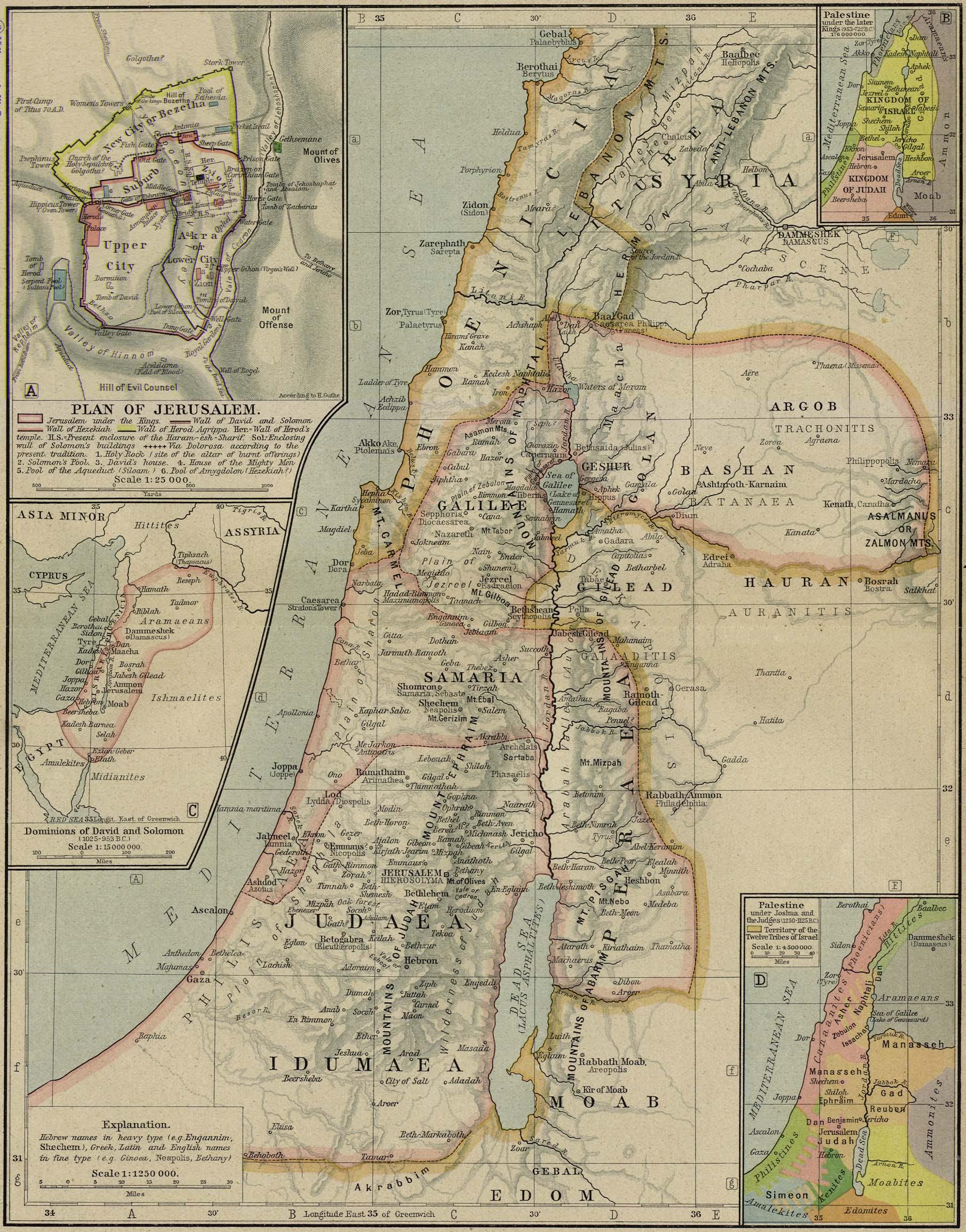Mapa de la Antigua Palestina
