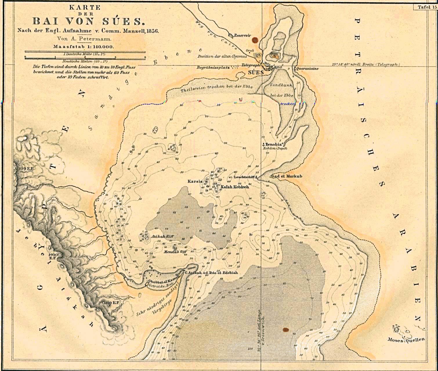 Mapa de la Bahía de Suez, Egipto 1856