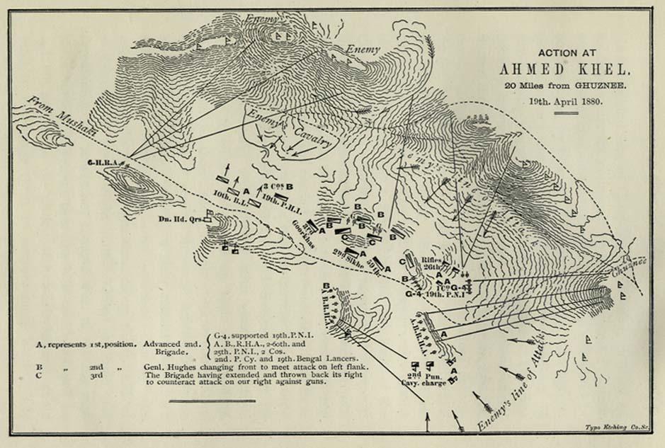 Mapa de la Batalla de Ahmed Khel, Afganistán 1880