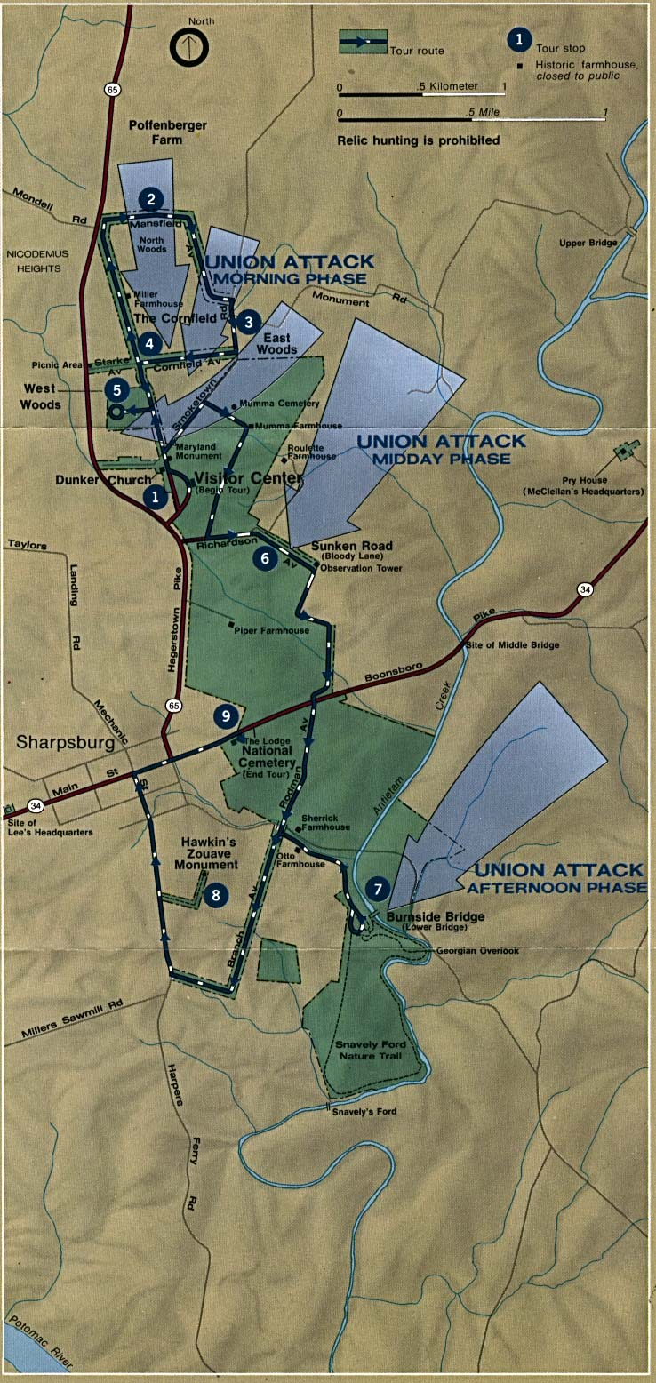 Antietam Battle Map, Maryland, September 17, 1862