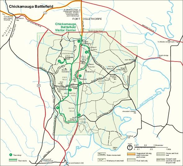 Battle of Chickamauga Map, Georgia September 18 to September 20, 1863