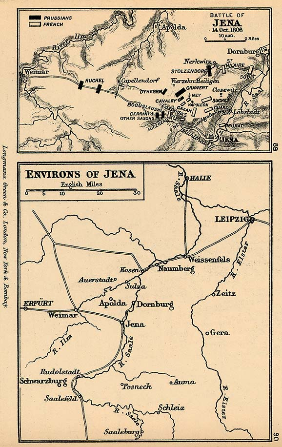 Mapa de la Batalla de Jena y Cercanías 1806