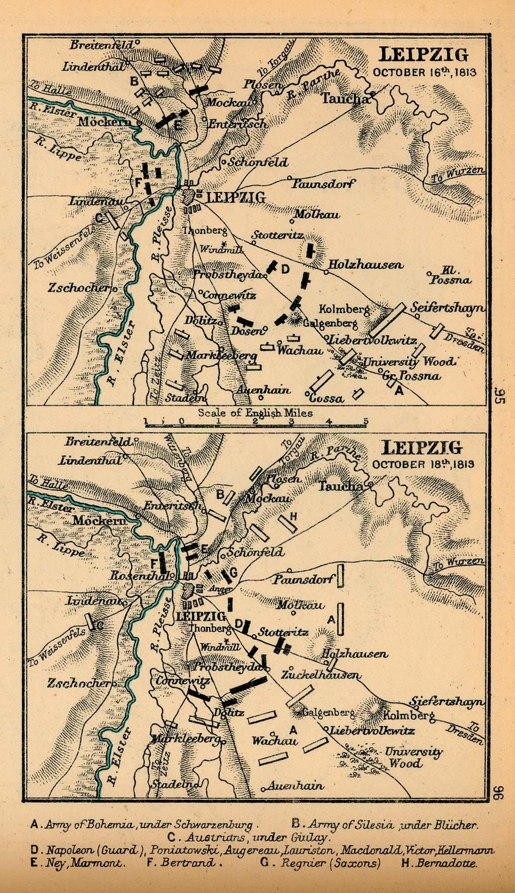 Mapa de la Batalla de Leipzig, Alemania, 16 Octubre y 18 Octubre, 1813