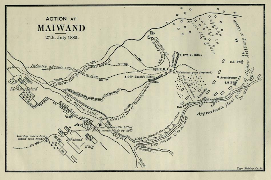 Map of Actions at Maiwand, Afghanistan 1880