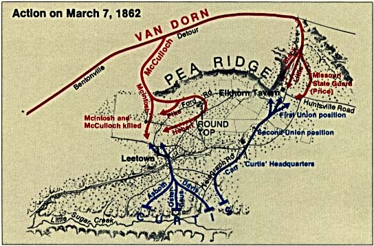 Mapa de la Batalla de Pea Ridge, Arkansas, Estados Unidos, 7 Marzo 1862
