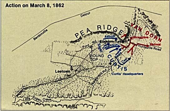 Pea Ridge Battle Map, Arkansas, United States, March 8 1862