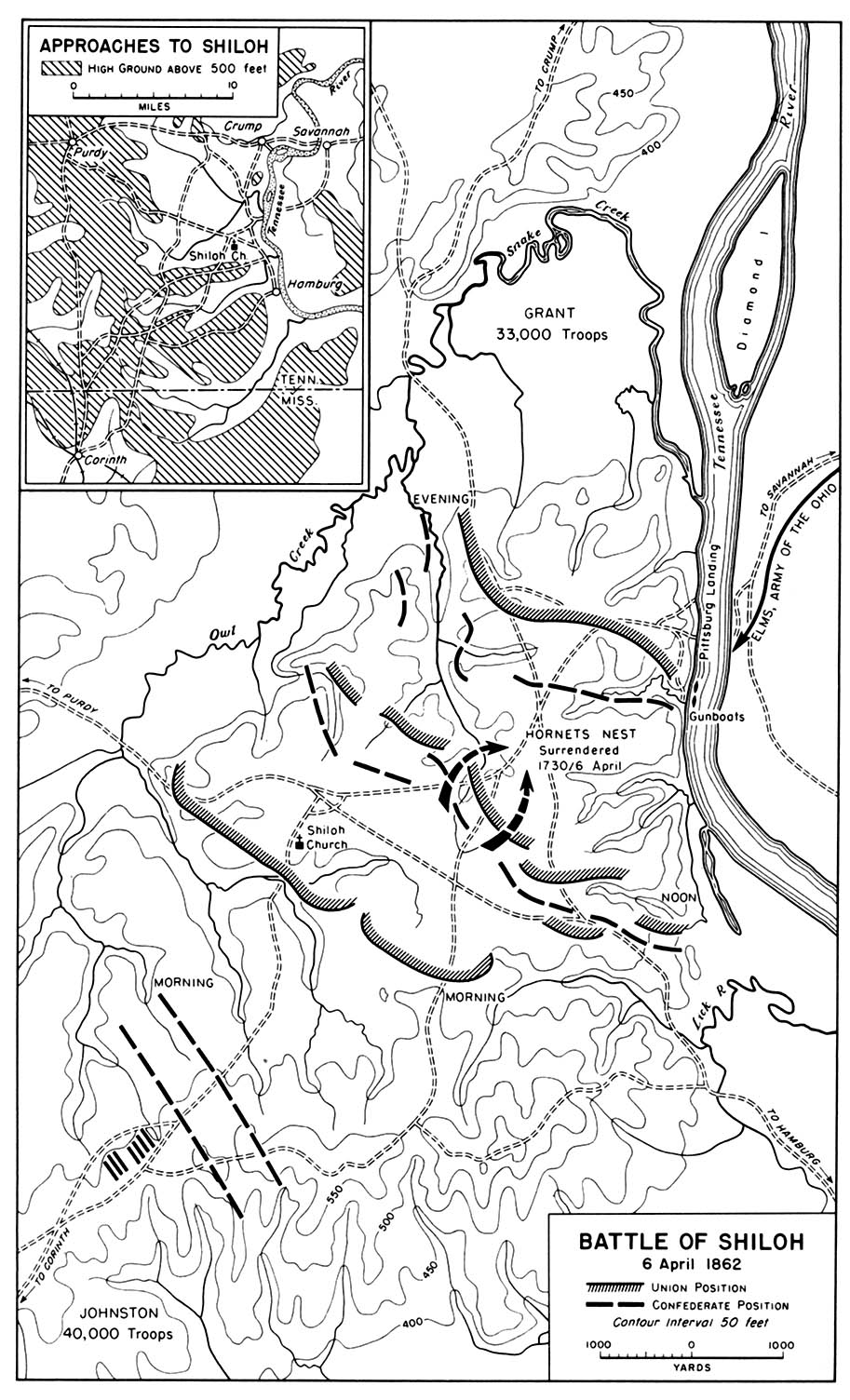 Map of the Battle of Shiloh, American Civil War,  6 April 1862