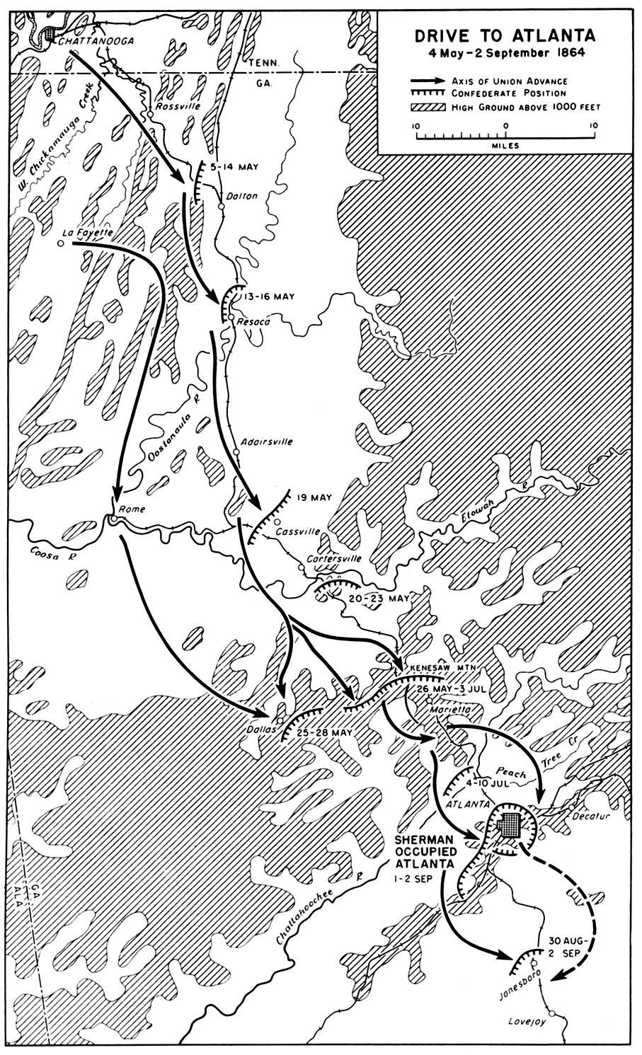 Mapa de la Campaña Hacia Atlanta, Guerra Civil Estadounidense,  4 Mayo-2 Septiembre 1864