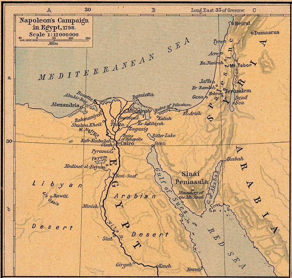 Mapa de la Campaña de Napoleón en Egipto 1798