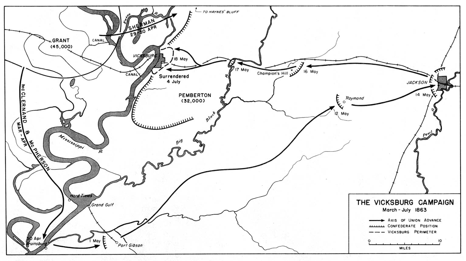 Map of the Vicksburg Campaign, American Civil War,  March-July 1863