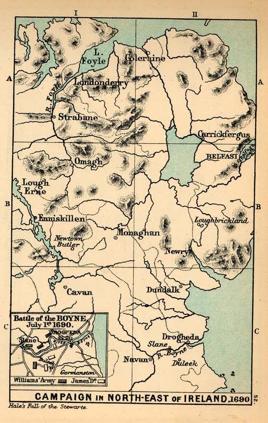 Mapa de la Campaña en el Norte Este de Irlanda y de la Batalla del Boyne, 1690