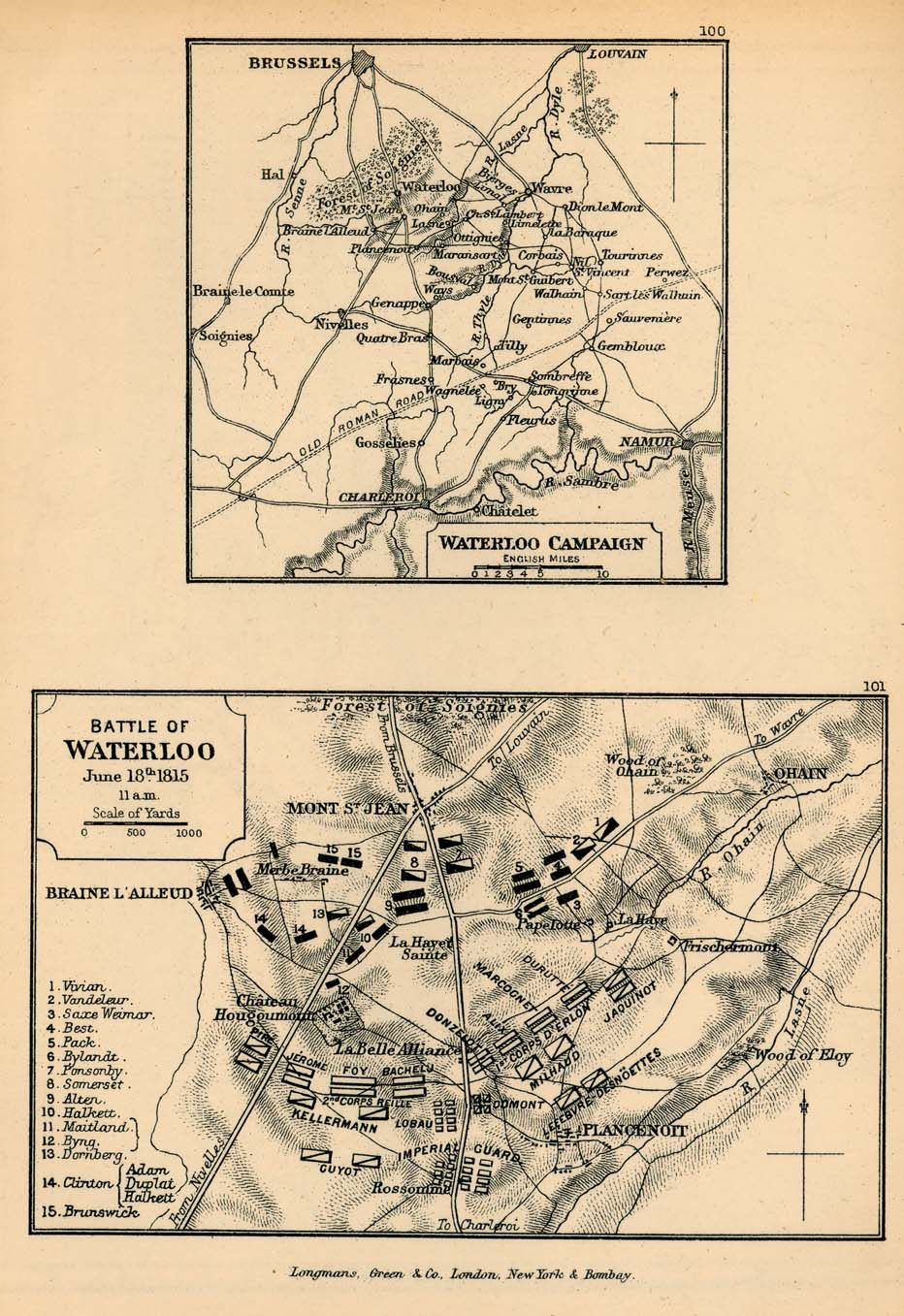 Map of Waterloo Campaign and Battle