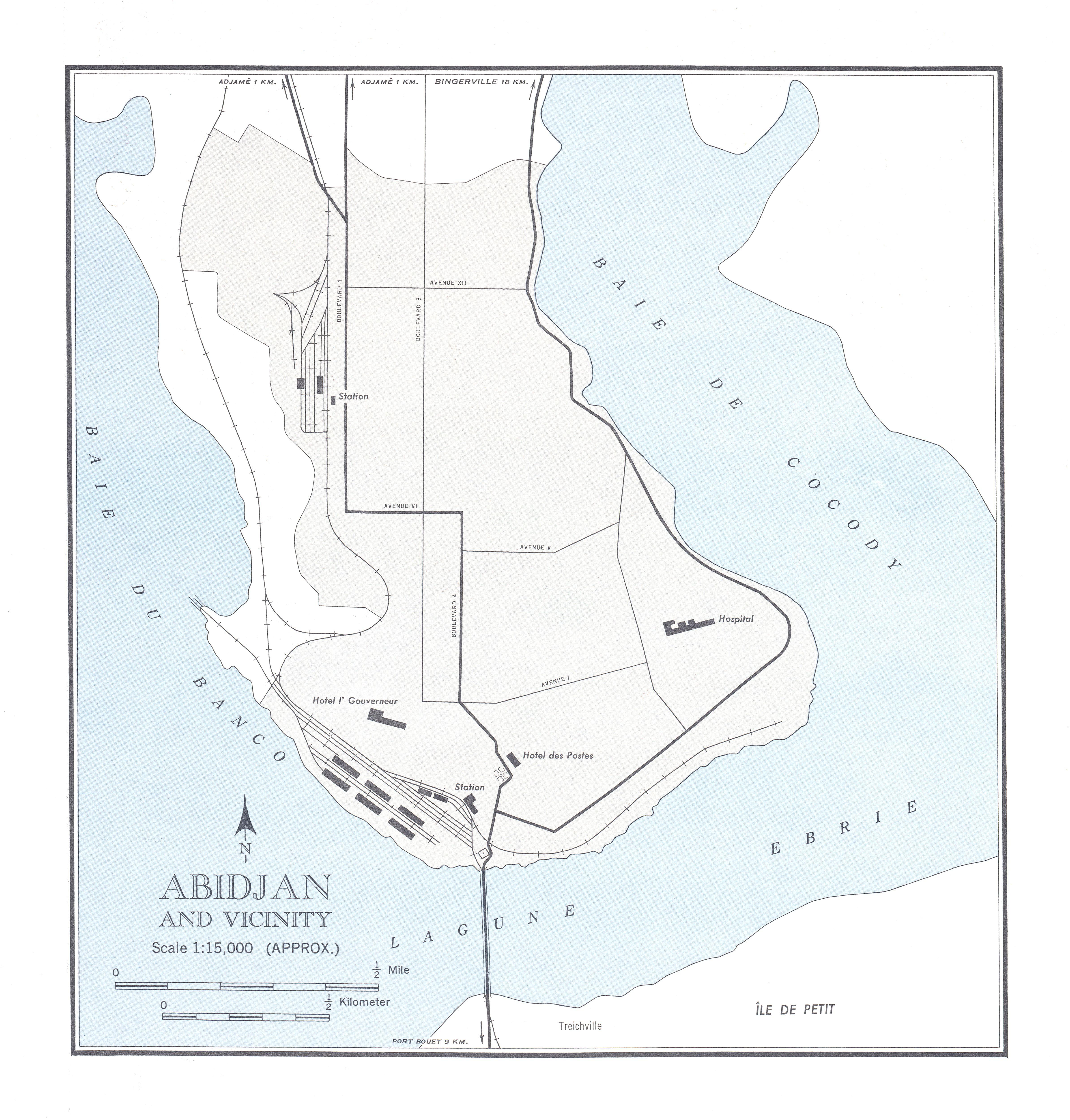 Mapa de la Ciudad de Abiyán y Cercanías, Côte d'Ivoire 1955