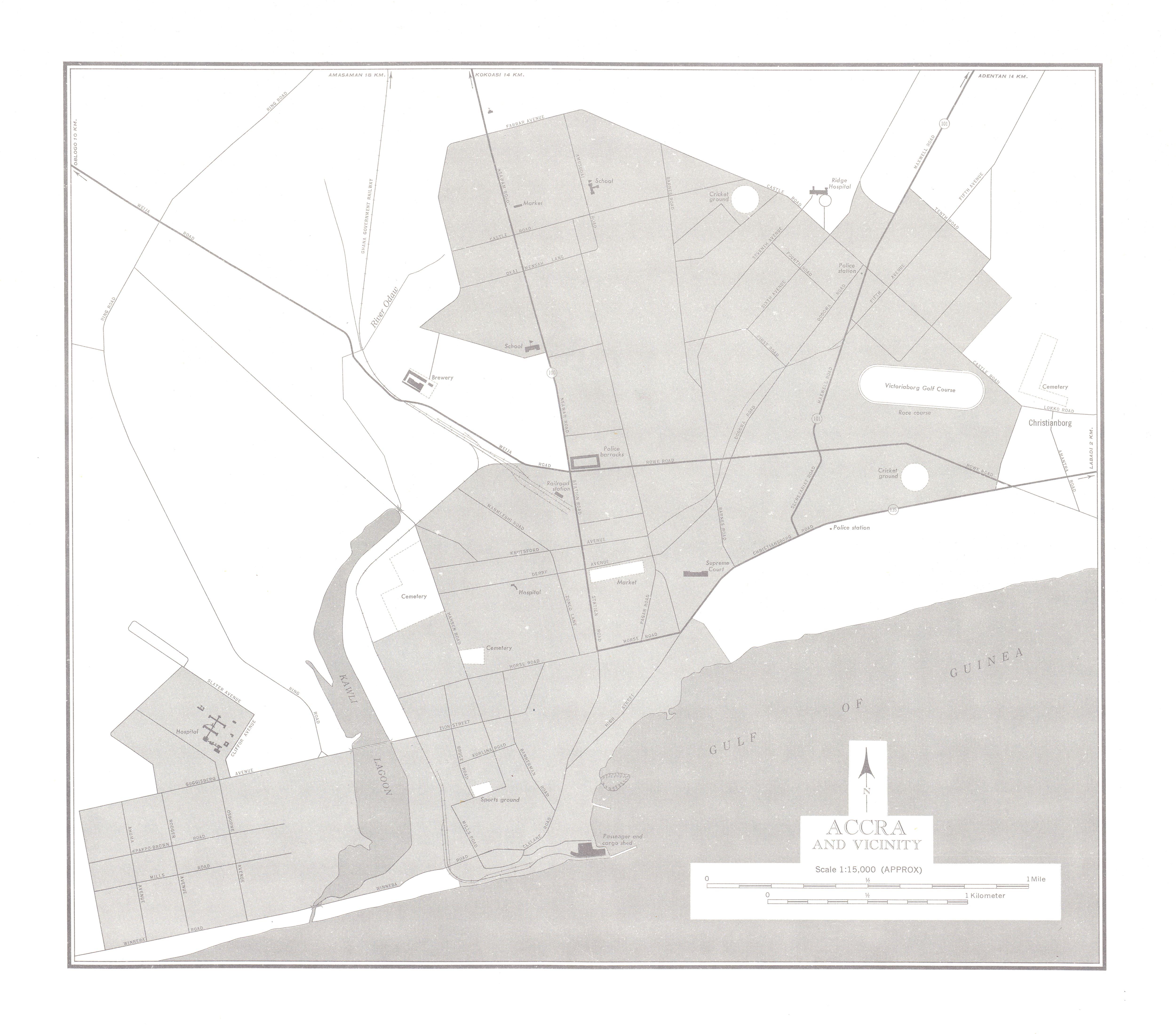 Mapa de la Ciudad de Accra y Cercanías, Ghana 1955