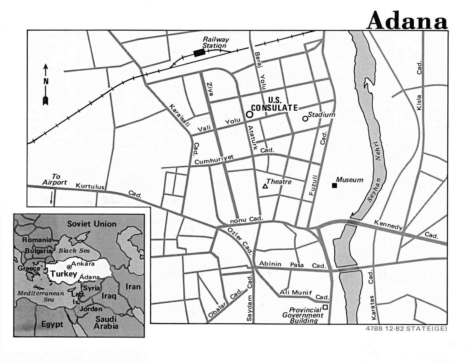 Mapa de la Ciudad de Adana, Turquía