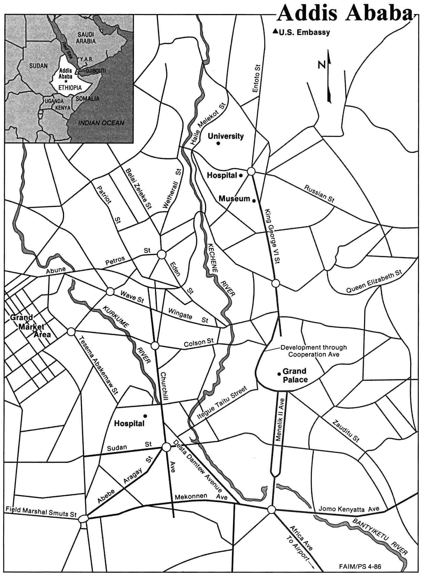 Mapa de la Ciudad de Adís Abeba, Etiopía