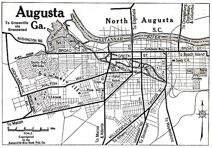 Augusta City Map, Georgia, United States 1920