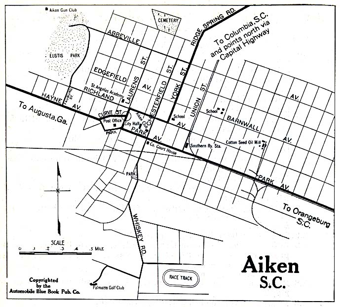 Aiken City Map, South Carolina, United States 1919