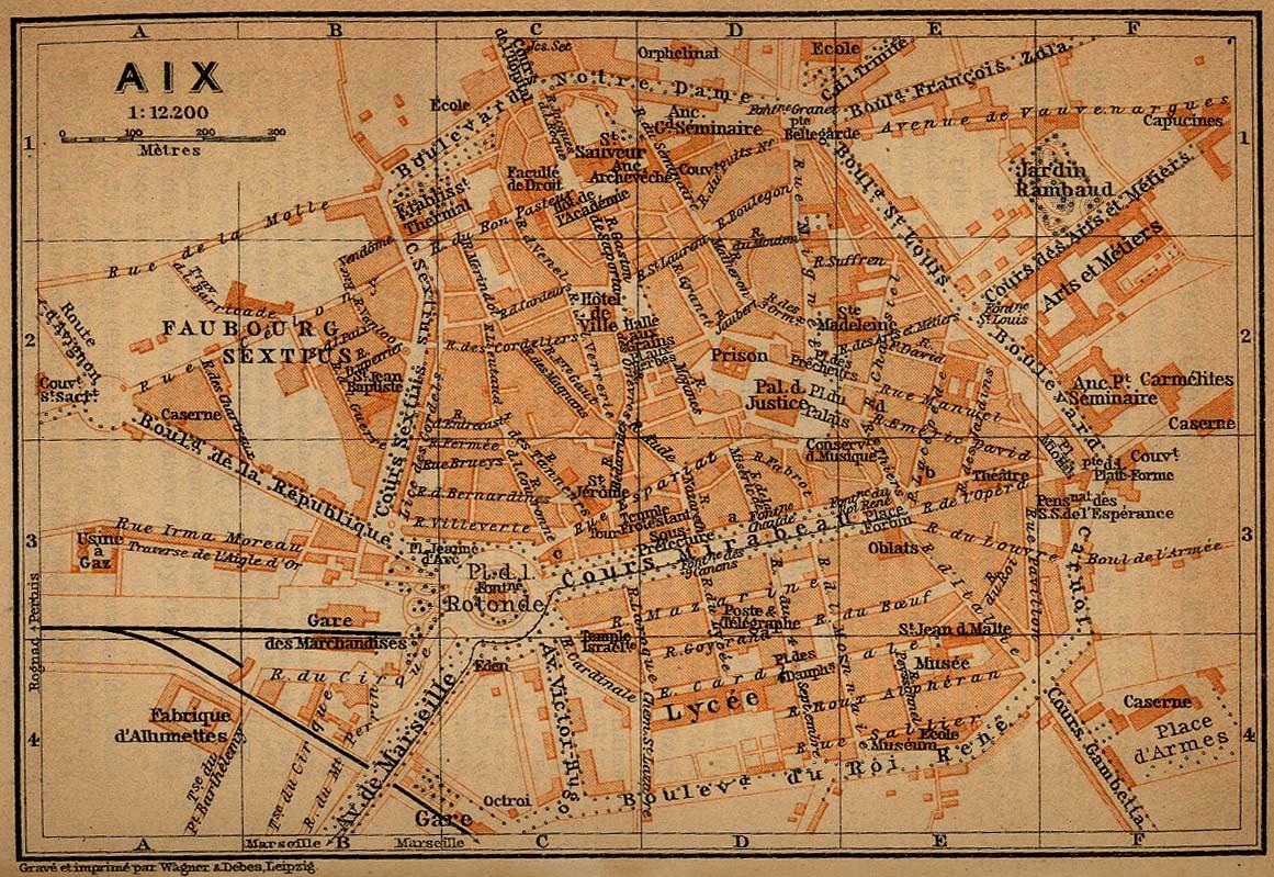 Mapa de la Ciudad de Aix-en-Provence, Francia 1914
