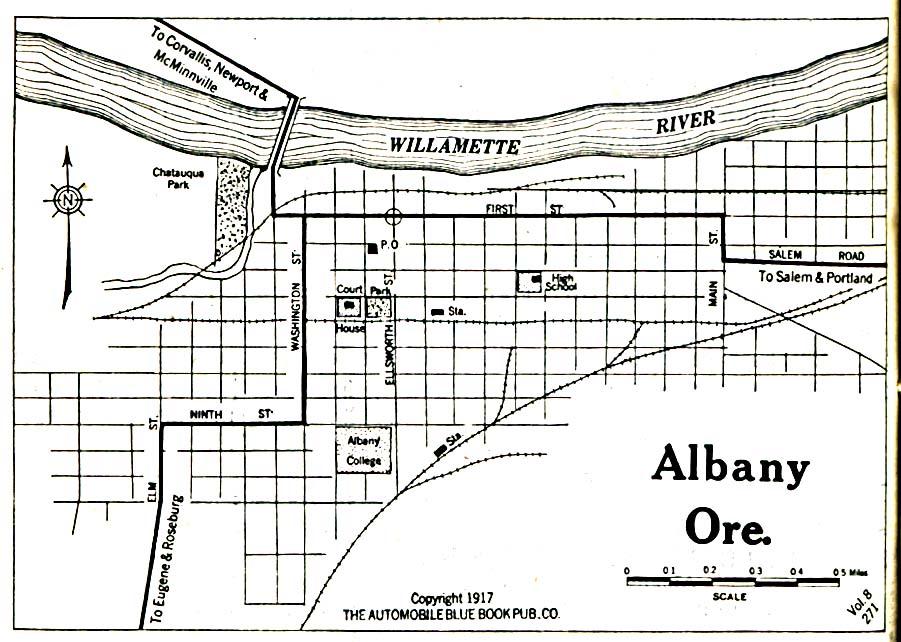 Mapa de la Ciudad de Albany, Oregón, Estados Unidos 1917