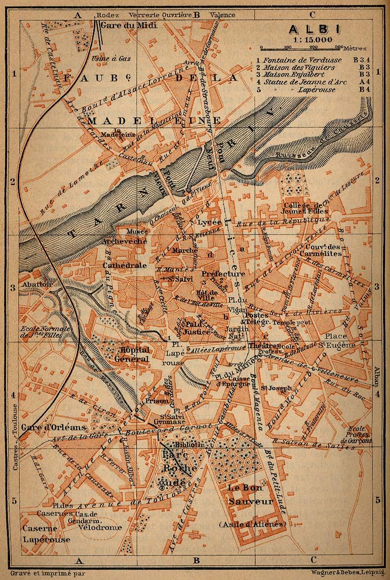 Albi City Map, France 1914