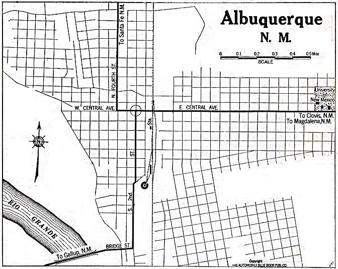 Albuquerque City Map, New Mexico, United States 1920