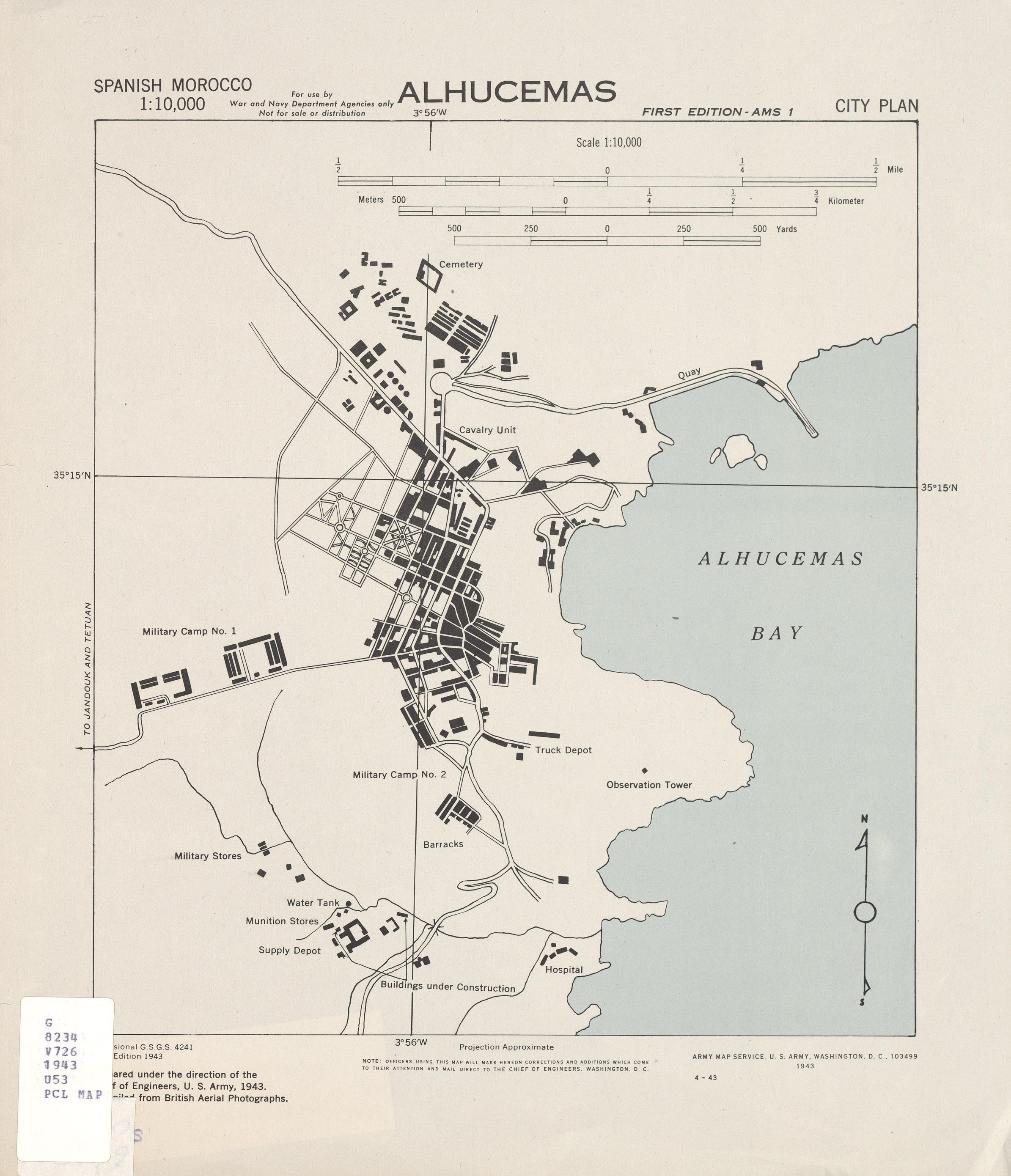 Mapa de la Ciudad de Alhucemas, España 1943