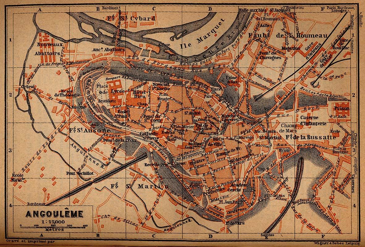 Mapa de la Ciudad de Angulema, Francia 1914
