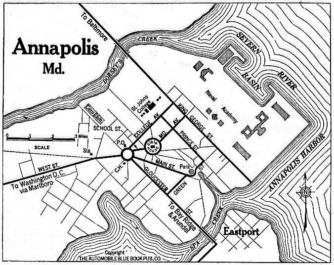 Mapa de la Ciudad de Annapolis, Maryland, Estados Unidos 1920