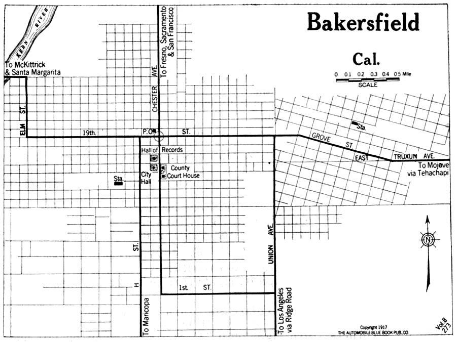 Mapa de la Ciudad de Bakersfield, California, Estados Unidos 1917