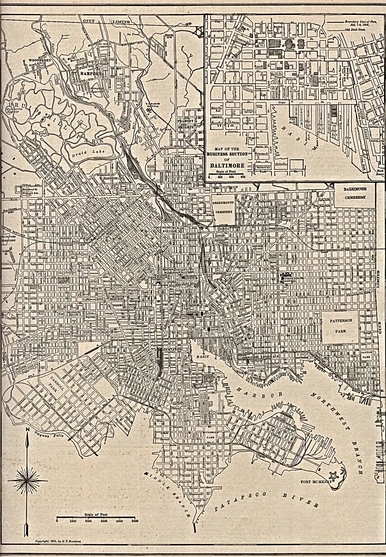 Baltimore City Map, Maryland, United States 1905