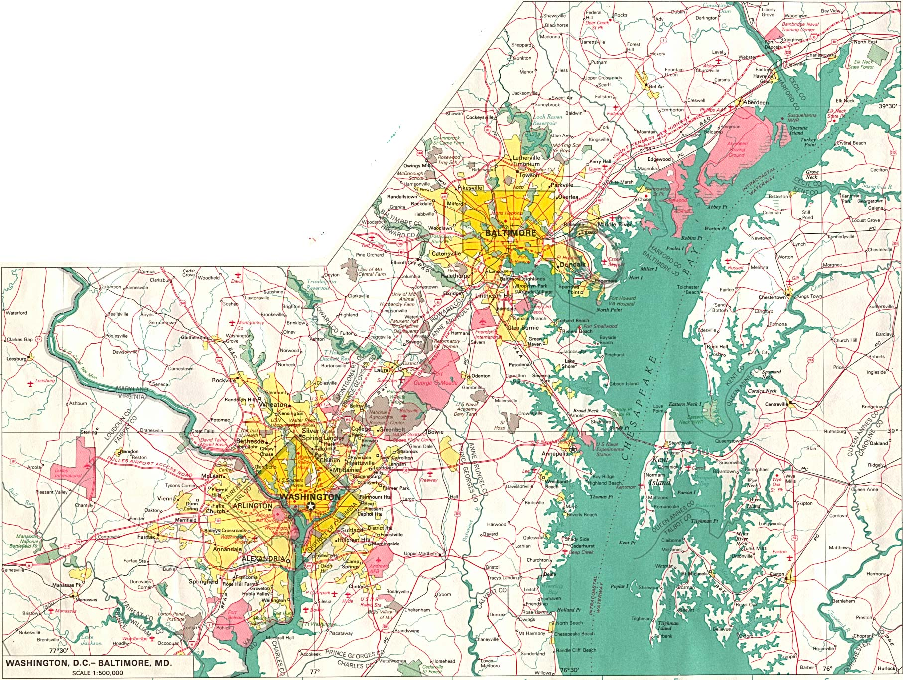 Baltimore City Map, Maryland, United States