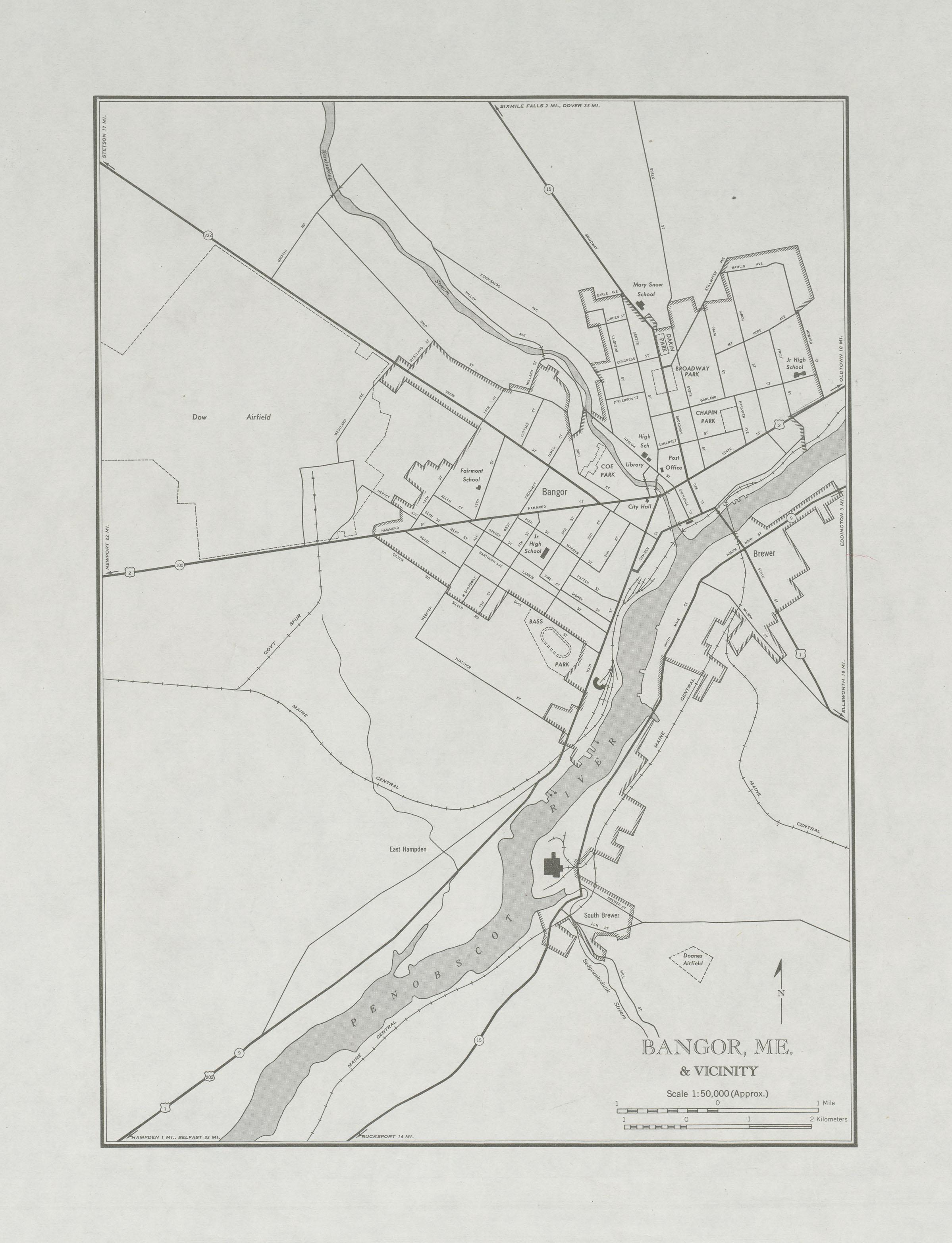 Mapa de la Ciudad de Bangor y Cercanías, Maine, Estados Unidos 1947